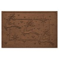 "Weather Guard™ Reindeer Row 23"" x 35"" Door Mat in Dark Brown"