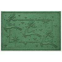 """Weather Guard™ Reindeer Row 23"""" x 35"""" Door Mat in Light Green"""
