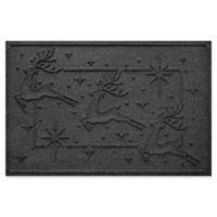 """Weather Guard™ Reindeer Row 23"""" x 35"""" Door Mat in Charcoal"""