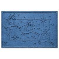 """Weather Guard™ Reindeer Row 23"""" x 35"""" Door Mat in Medium Blue"""