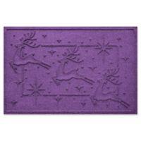 """Weather Guard™ Reindeer Row 23"""" x 35"""" Door Mat in Purple"""