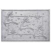 """Weather Guard™ Reindeer Row 23"""" x 35"""" Door Mat in White"""