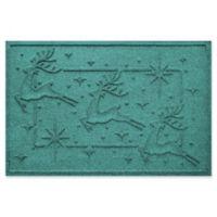 """Weather Guard™ Reindeer Row 23"""" x 35"""" Door Mat in Aqumarine"""