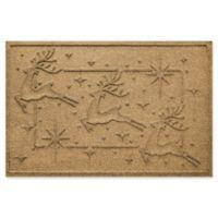 """Weather Guard™ Reindeer Row 23"""" x 35"""" Door Mat in Gold"""
