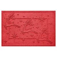 """Weather Guard™ Reindeer Row 23"""" x 35"""" Door Mat in Solid Red"""