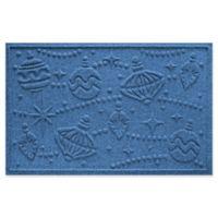"""Weather Guard™ Ornaments 23"""" x 35"""" Door Mat in Medium Blue"""