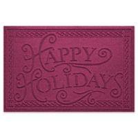 """Weather Guard™ """"Happy Holidays"""" 23"""" x 35"""" Door Mat in Bordeaux"""