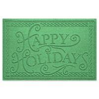 """Weather Guard™ """"Happy Holidays"""" 23"""" x 35"""" Door Mat in Light Green"""