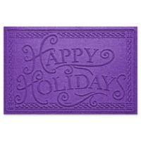 """Weather Guard™ """"Happy Holidays"""" 23"""" x 35"""" Door Mat in Purple"""