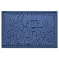 """Weather Guard™ """"Happy Holidays"""" 23"""" x 35"""" Door Mat in Navy"""