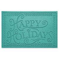 "Weather Guard™ ""Happy Holidays"" 23"" x 35"" Door Mat in Aqumarine"