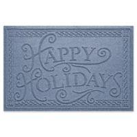 """Weather Guard™ """"Happy Holidays"""" 23"""" x 35"""" Door Mat in Bluestone"""