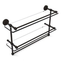 Allied Brass 22-Inch Gallery Double Glass Shelf with Towel Bar in Oil Rubbed Bronze