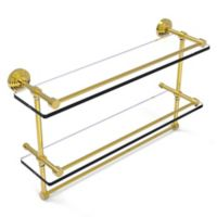 Allied Brass 22-Inch Gallery Double Glass Shelf with Towel Bar in Polished Brass