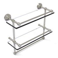 Allied Brass 16-Inch Gallery Double Glass Shelf with Towel Bar in Satin Nickel