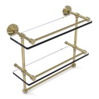 Allied Brass 16-Inch Gallery Double Glass Shelf with Towel Bar in Unlacquered Brass