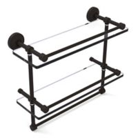 Allied Brass 16-Inch Gallery Double Glass Shelf with Towel Bar in Oil Rubbed Bronze