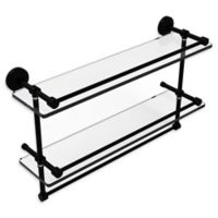 Allied Brass Waverly Place 22-Inch Double Glass Shelf with Rails and Towel Bar in Black