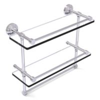 Allied Brass 16-Inch Gallery Double Glass Shelf with Towel Bar in Polished Chrome