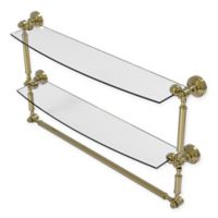 Allied Brass Waverly Place 24-Inch 2-Tiered Glass Shelf with Towel Bar in Unlacquered Brass