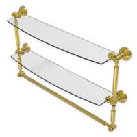 Allied Brass Waverly Place 24-Inch 2-Tiered Glass Shelf with Towel Bar in Polished Brass