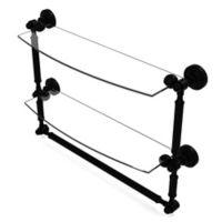 Allied Brass Waverly Place 18-Inch 2-Tier Glass Shelf with Towel Bar in Matte Black