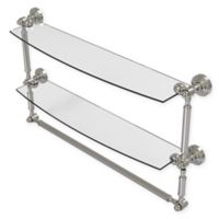 Allied Brass Waverly Place 24-Inch 2-Tiered Glass Shelf with Integrated Towel Bar in Satin Nickel