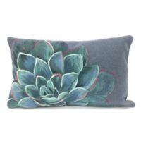 Liora Manne Visions Succulent Oblong Indoor/Outdoor Throw Pillow in Lapis
