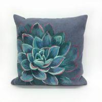 Liora Manne Visions Succulent Square Indoor/Outdoor Throw Pillow in Lapis