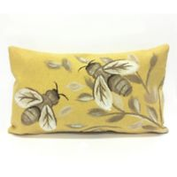 Liora Manne Visions Bees Honey Square Indoor/Outdoor Throw Pillow in Gold