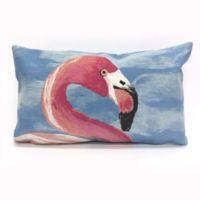 Liora Manne Flamingo Ocean Oblong Indoor/Outdoor Throw Pillow in Blue