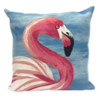 Liora Manne Flamingo Ocean Square Indoor/Outdoor Throw Pillow in Blue
