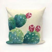 Liora Manne Visions Cactus Pear Square Indoor/Outdoor Throw Pillow in Cream