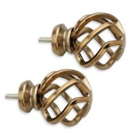 Cambria® Premier Complete Birdcage Finial in Warm Gold (Set of 2)