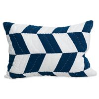 Herringbone Patch Standard Pillow Sham in Indigo
