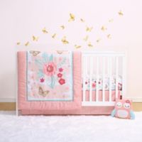 Little Haven Aflutter 4-Piece Crib Bedding Set in Coral/Gold