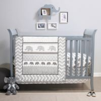 Belle Elephant Walk 4-Piece Crib Bedding Set in Grey/White