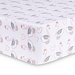 Trend Lab® Swans Fitted Crib Sheet in Grey/Pink