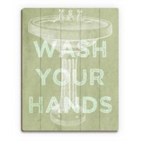 "Astra Art ""Wash Your Hands"" 16-Inch x 20-Inch Wood Wall Art"