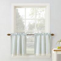 No. 918 Maisie Plaid 36-Inch Rod Pocket Kitchen Curtain Tier Pair in Aloe