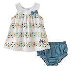 Tommy Hilfiger® Size 3-6M 2-Piece Floral Top and Denim Diaper Cover Set in White