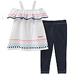 Tommy Hilfiger® Size 6-9M 2-Piece Rainbow Dot Cold Shoulder Top and Pant Set in White