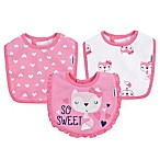 Gerber® 3-Pack Fox Terry Dribbler Bibs in Pink