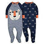 Gerber® Size 0-3M 2-Piece Tiger Sleep N' Play Footies in Navy