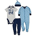 Gerber® Newborn 4-Piece Explore Bodysuit, Footie, Pant, and Hat Take Me Home Set in Blue