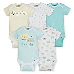 Gerber® Size 0-3M 5-Pack Clouds Short Sleeve Bodysuits in Teal/Yellow