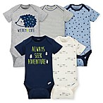 Gerber® Size 0-3M 5-Pack Hedgehog Short Sleeve Bodysuits in Blue