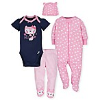 Gerber® Size 6-9M 4-Piece Fox Take Me Home Set in Pink