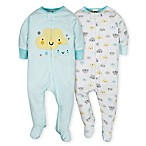 Gerber® Size 3-6M 2-Piece Clouds Sleep N' Play Footies in Teal/Yellow