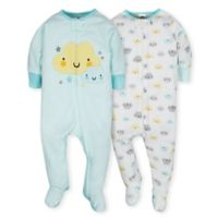 Gerber® Size 0-3M 2-Piece Clouds Sleep N' Play Footies in Teal/Yellow